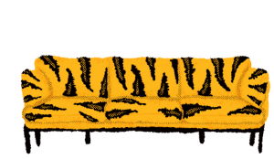 Sketchy black and gold illustration of a couch with tiger stripes.