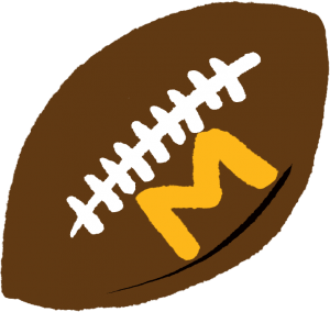 Sketchy illustration of a brown football with gold M