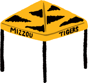 """Sketchy illustration of a tailgate tent with tiger stripes and text """"Mizzou"""" and """"Tigers"""""""