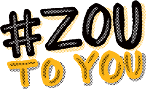 "Hand drawn text ""# Zou to You"""