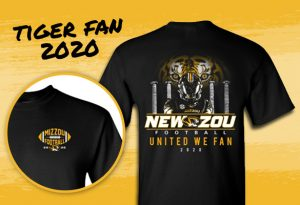 "Graphic of a Tiger Football Fan t-shirt for 2020 with text ""New Zou Football United we Fan 2020"""