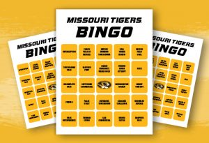 Three images of Missouri Tigers Bingo cards on a gold background.