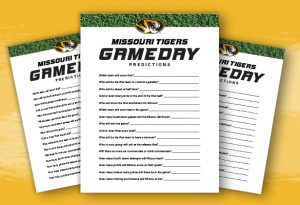 Graphic showing the Missouri Tigers Game day predictions game sheet.
