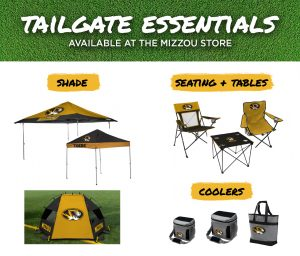 """Composition graphic with white text over green grass """"Tailgate Essentials - Available at the Mizzou Store"""". Below the header is a gold brush stroke with black text """"shade"""" and three photos of pop up tents with Mizzou logos. To the right is a gold brush stroke and text """"Seating and Tablse"""" with photos of two lawn chairs and a lawn table. Below that is a gold brush stroke with black text """"coolers"""" and three cooler photos."""