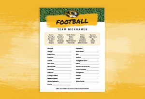 """Graphic showing the """"Football Team Nicknames"""" game sheet"""