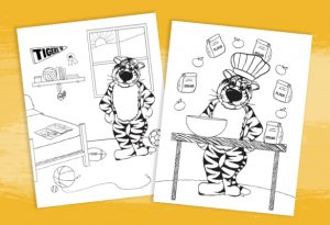 Graphic of two kids coloring pages featuring Truman the Tiger.