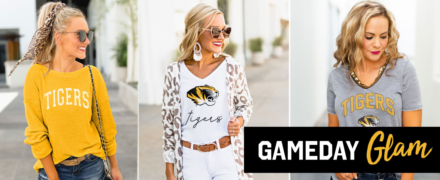 Three photos of blonde woman wearing different Mizzou branded sweaters and shirts with a black bar overlay and text