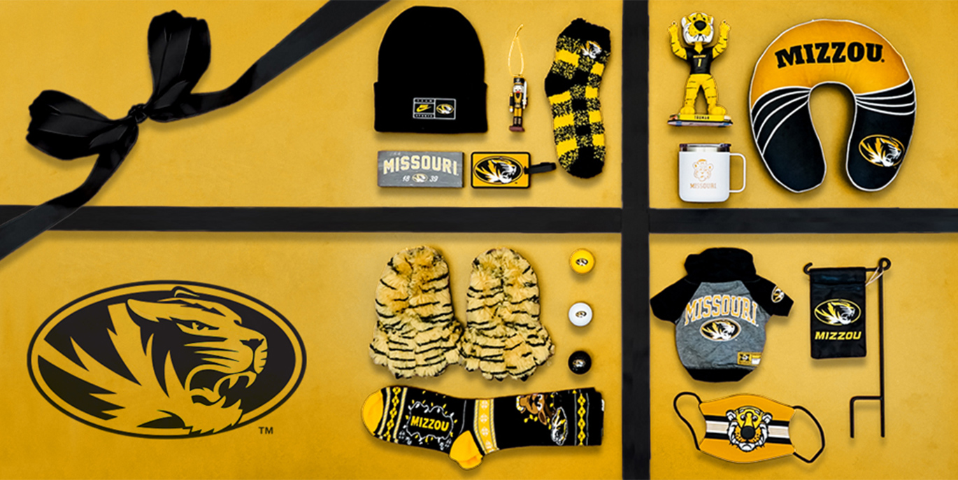 Photo collage of Mizzou products arranged like a gift box.