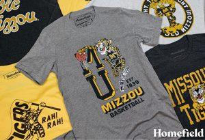 Photo of vintage Mizzou designs on t-shirts