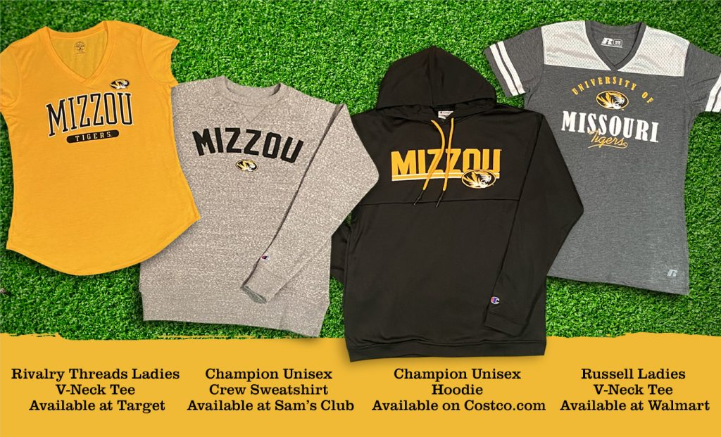 Photo of Mizzou products available at different retailers.